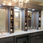 2 queen bathroom vanity with fireplace.