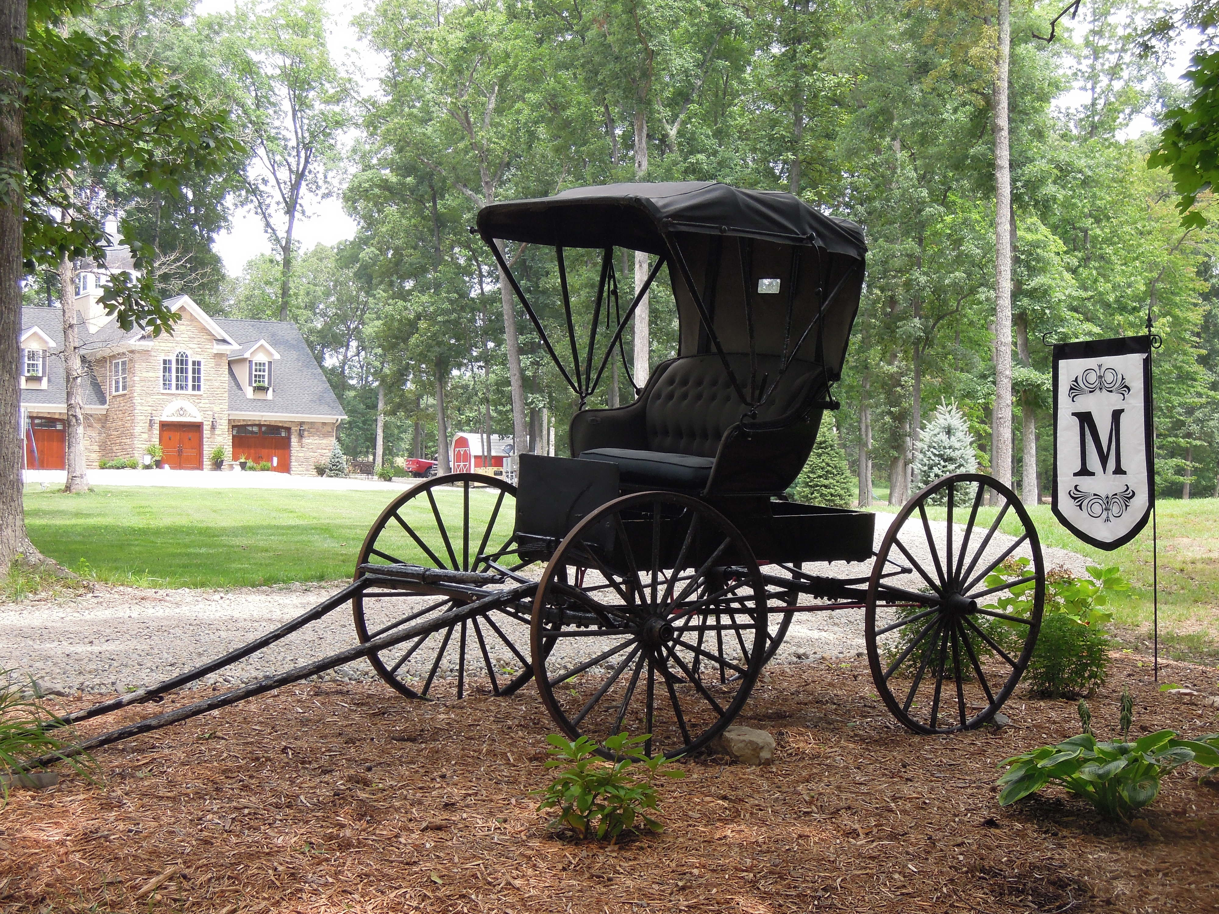 The carriage by the front entry.